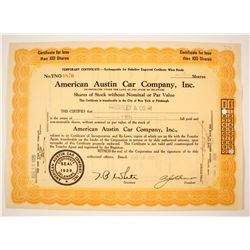 American Austin Car Co Stock