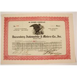 Dusenberg Automobile & motors Stock