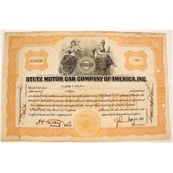 Stutz Motor Car Co. of America Stock