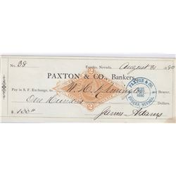 Nevada Check Signed by Silver Lick Mine Supt. James Adams who was Shot in Saloon Fight