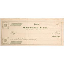 RARE Whitney & Company Palisade, Nevada Check