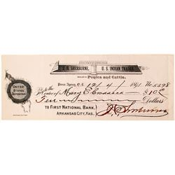 J.H. Sherburne, U.S. Indian Trader Check, Oklahoma Territory, 1891