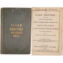 Salem Directory & Almanac, 1853