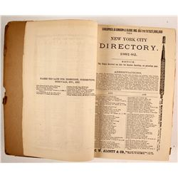 New York City Directory 1881–'82