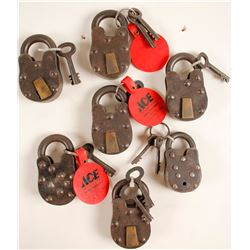 Seven Crude Locks with keys