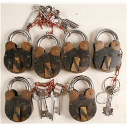 Six Large Locks with Keys