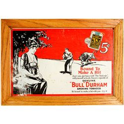 Framed Metal Bull Durham Tobacco Sign