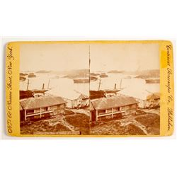 """The Bay of Sitka"" Stereoview c., Large Size- Yellow Mount"