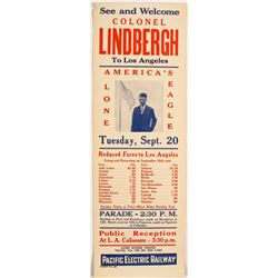 Ad. for Appearance of Col. Lindbergh in Los Angeles