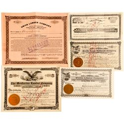 Group of 5 Mendocino County Lumber Stock Certificates
