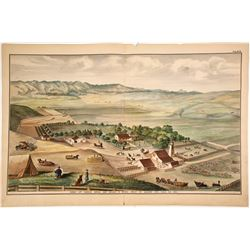 Handcolored Lithograph of Gable Brothers Farm