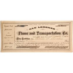 San Lorenzo Flume and Transportation Company Stock, Santa Cruz County