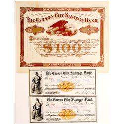 Carson City Savings Bank Stock Certificate and Checks