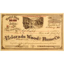 Rare Eldorado Wood & Flume Company Stock Certificate