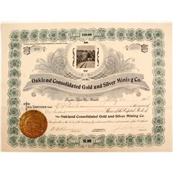 Stock Cert. Oakland Consolidated Gold & Silver Mining Co.