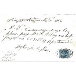 Swift's Station 1864 Note to the Savage Mining Company