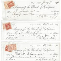 3 Mackay 1869 Signed Checks with Nevada Revenue Stamps