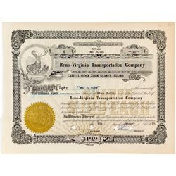 Rare 1925 stock certificate issued to Wm J. Cobb for 150 shares of the Reno-Virginia Transportation