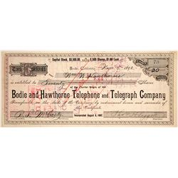 Bodie and Hawthorne Telephone and Telegraph Co. Stock Certificate issued to Hawthorne