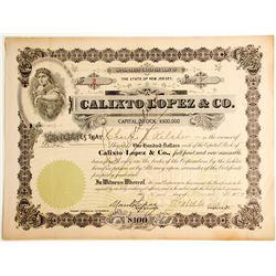 Calixto Lopez & Co. Cuban Cigar Maker, NYC Stock Certificate