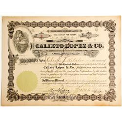 Calixto Lopez & Co. Cuban Cigar Maker, NYC Stock Certificate