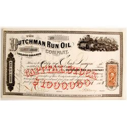 New York Oil Stock Certificate- Dutchman Run- EF
