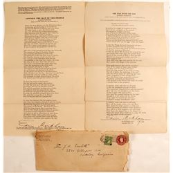 Edwin Markham Letter & Signed Poems