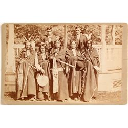 Mounted Photo of 5 Native Americans & 2 Men in Suits