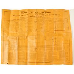 Central Pacific Railroad Timetable Broadside