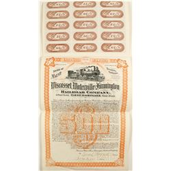 Railroad Gold Bond Wiscassel, Waterville & Farmington