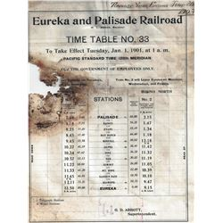 Original 1901 Eureka & Palisade Time Table and 1903 Tonnage Report