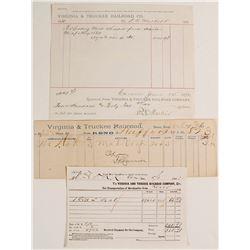 (3) Virginia & Truckee R.R. Waybill and Freight Receipts