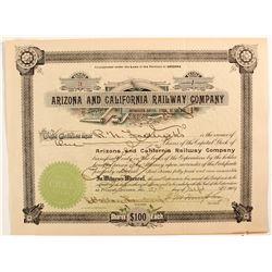 Arizona and California Railway CO. Stock
