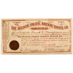 Atlantic-Pacific Railway Tunnel Co Stock Cert.