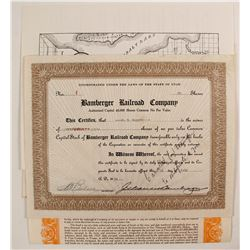 Bamberger Railroad Co Stock Certificates (2) and Bond