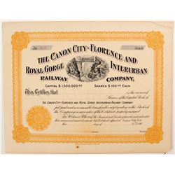 Canon City-Florence and Royal Gorge Interurban Railway Co. Certificate