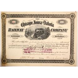 Chicago, Iowa and Dakota Railway Company Stock Certificate