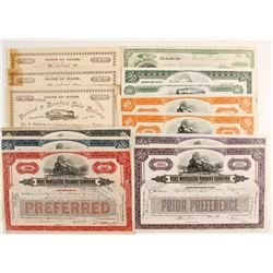 Five Different Stock Certificates from:  MI, NY, PA, IL