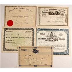 Five Non-issued Railroad Stock  Certificate from the Mid-west