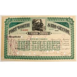 Fort Worth & Rio Grande Railway Co. Stock Certificate