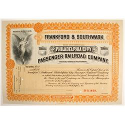 Frankford & Southwark Passenger Railroad Co. Stock Specimen