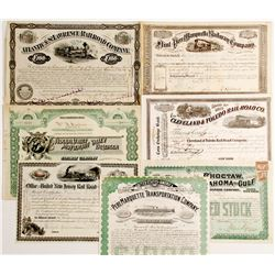 Nice Group of 7 Eastern Railroad Stock Certificates, Most pre-1900, All Issued