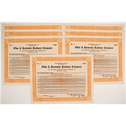 Ohio & Kentucky Railway Company Stock Certificates