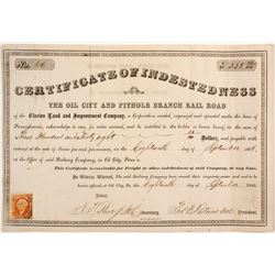 Oil City and Pithole Branch Rail Road Stock Certificate