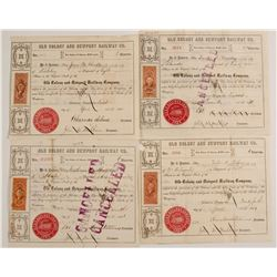 Old Colony and Newport Railway Company Stock Certificates with Five Different Revenue Stamps