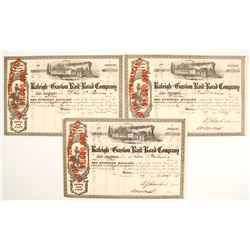Raleigh & Gaston Railroad Company Stock Certificates