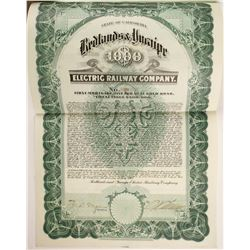 Redlands and Yucaipe Electric Railway Co Bond