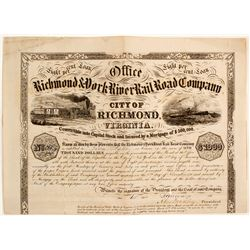 Richmond & York River Railroad Company Bond Certificate