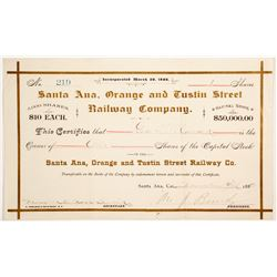 Santa Ana, Orange and Tustin Street Railway Co stock