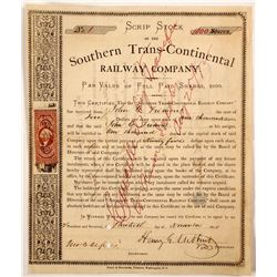 Southern Trans-Continental Railway Co Script Stock